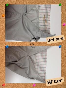 レディース ジャンバー の 袖 ソデ についた 不明な しみ by 下町、東京都江東区亀戸の会員制クリーニングベレーナ