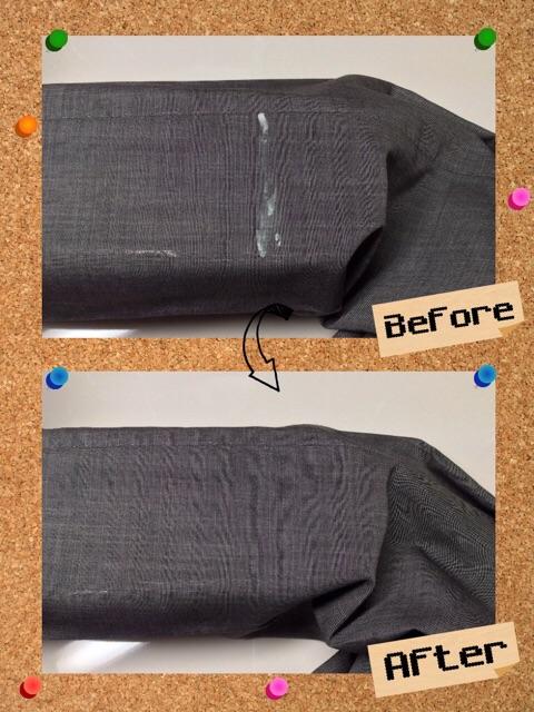 メンズ ズボン パンツ コーキング剤 樹脂 のしみ by 下町、東京都江東区亀戸の会員制クリーニングベレーナ