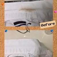 メンズ ワイシャツ に 付いた 毛染め ヘアカラー の しみ by 下町、東京都江東区亀戸の会員制クリーニングベレーナ