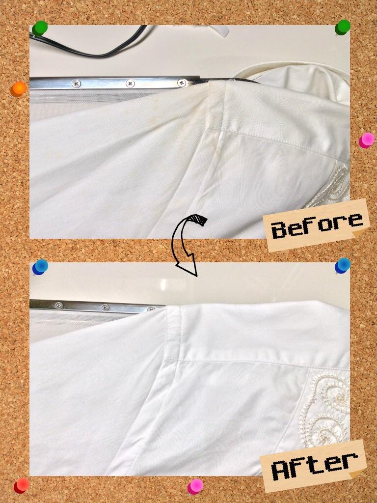 メンズ シャツ の 広範囲 の 変色 黄ばみ by 下町、東京都江東区亀戸の会員制クリーニングベレーナ