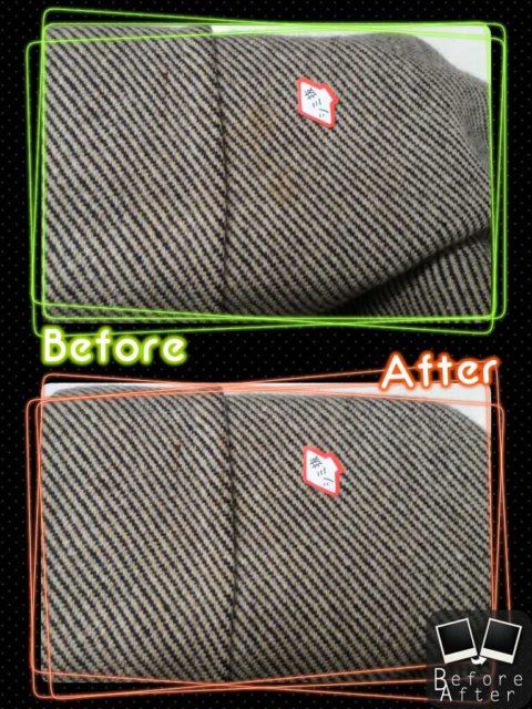 Salvatore Ferragamo サルバトーレ フェラガモ の メンズ コート についた 古い 食べこぼし のしみ by 下町、東京都江東区亀戸の会員制クリーニングベレーナ